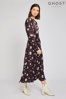 Ghost London Brown Rosaleen Daisy Print Satin Dress