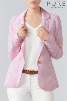 Pure Collection Pink Laundered Linen Jacket