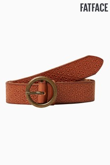 FatFace Brown Geo Embossed Leather Belt