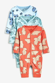 3 Pack Character Print Footless Sleepsuits (0mths-2yrs)
