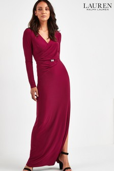 Lauren Ralph Lauren® Raspberry Lilyanna Wrap Evening Dress