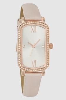 Embellished Rectangle Case Watch