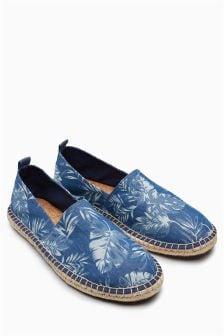 印花帆布便鞋