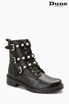 Dune Black Risky Leather Pearl Trim Biker Strap Boot