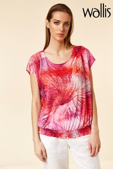Wallis Red Sunrise Palm Burnout Top