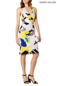 Karen Millen Blue Flower Stripe Dress On Cotton