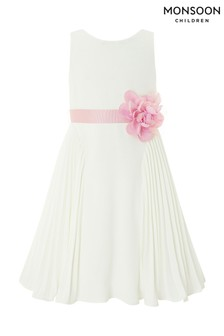 Monsoon Ivory Daisy Pleat Dress