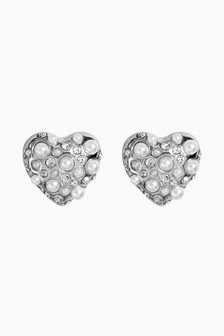 Pearl Effect Heart Shape Stud Earrings