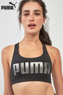 Puma® Black Metallic Logo Bra