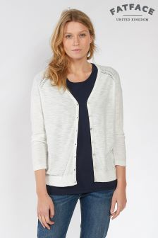 FatFace White Organic Cotton Rose Cardigan