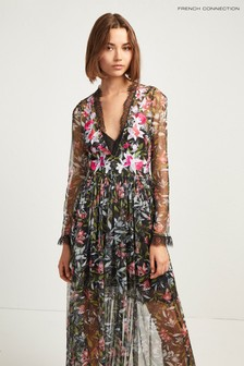 French Connection Black Flori Embroidered V-Neck Maxi Dress