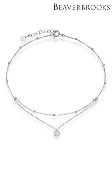 Beaverbrooks Sterling Silver Cubic Zirconia Double Strand Anklet