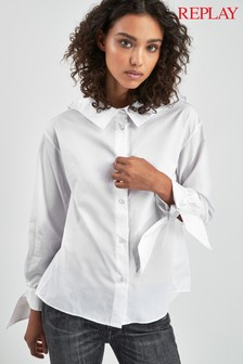 Replay® White Ribbon Sleeve Shirt