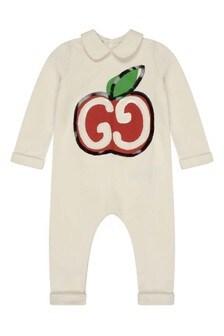 GUCCI Kids Baby Girls White Cotton Logo Romper