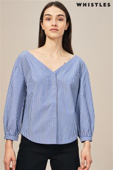 Whistles Blue And White Stripe V Bardot Shirt