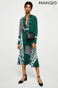 Mango Green Striped Pleated Skirt
