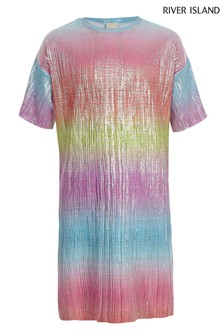 River Island Rainbow Plisse Dress