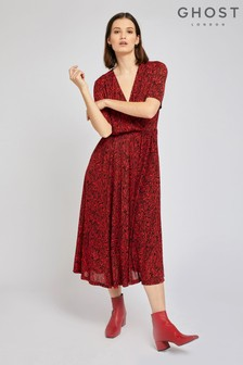Ghost London Red Maisie Zebra Print Jersey Dress