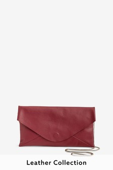 Leather Slouchy Clutch Bag