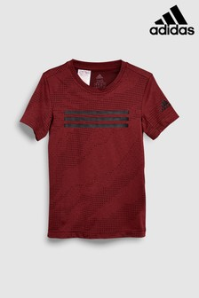 adidas Burgundy 3 Stripe Train Tee