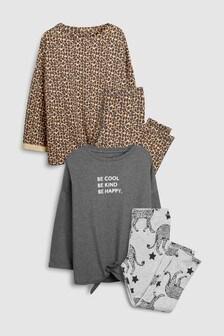 מארז שתי פיג'מות טייצים וחולצה עם קשירה מלפנים (גילאי 3 עד 16)