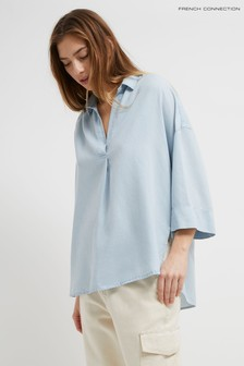 French Connection Blue Julienne Lyocell Pop Over Shirt
