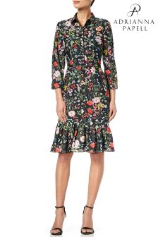 Adrianna Papell Black Bloom Printed Shirtdress