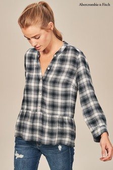 Abercrombie & Fitch Black Plaid Shirt