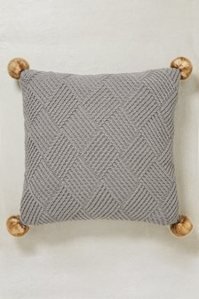 Knitted Pom Pom Large Square Cushion