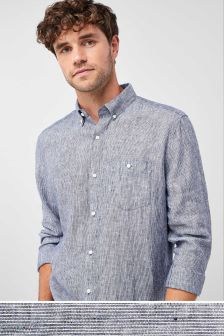 Long Sleeve Pure Linen Fine Stripe Shirt