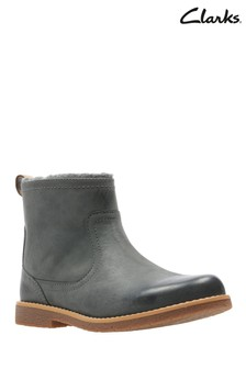 Clarks Grey Leather Comet Frost Ankle Boot