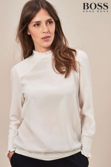 BOSS White Smocking Detail Silk Shirt