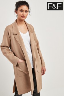 F&F Stone Suedette Duster Coat