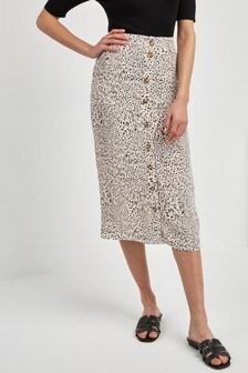 Button Midi Skirt