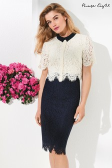 Phase Eight Ivory/Navy Mandy Layered Lace Dress