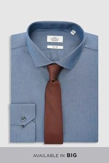 Hemd aus Baumwollstretch mit Krawatte im Set