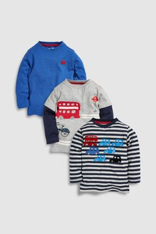 Transport Long Sleeve Top Three Pack (3 Monate bis 7 Jahre)