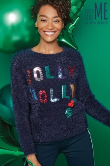 Womens Jolly Holly Christmas Jumper