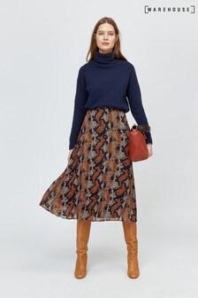 Warehouse Brown Snake Print Pleated Midi Skirt