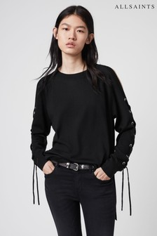 AllSaints Black Cross Jumper