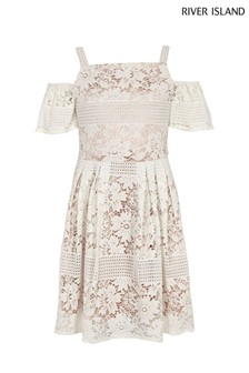 River Island White Lace Cold Shoulder Dress
