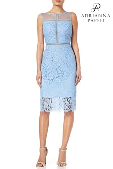 Adrianna Papell Blue Sleeveless Metallic Lace Sheath