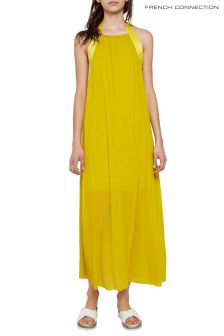 French Connection Yellow Palmeira Jersey Halter Midi Dress