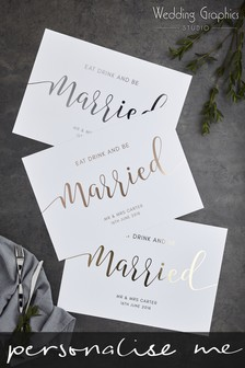 Personalised Script Foil Placemat by Wedding Graphics