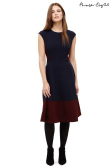 Phase Eight Navy/Pecan Shez Panelled A-Line Dress
