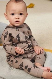 Джемпер с принтом динозавра и спортивные брюки (комплект) (0 мес. - 2 лет)