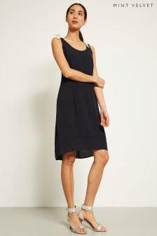 Mint Velvet Blue Tie Shoulder Cocoon Dress