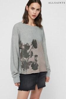 AllSaints Grey Rose Print Piro Sweatshirt