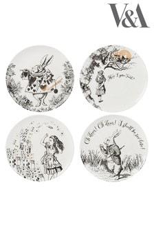V&A Alice in Wonderland Dessertteller, 4er-Set