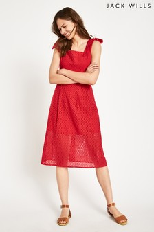 Jack Wills Red Rooksmoor Broderie Dress